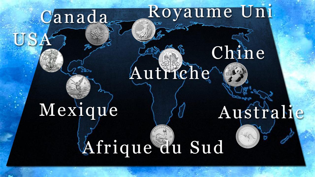 Carte des principales pièces d'argent d'investissement dans le monde