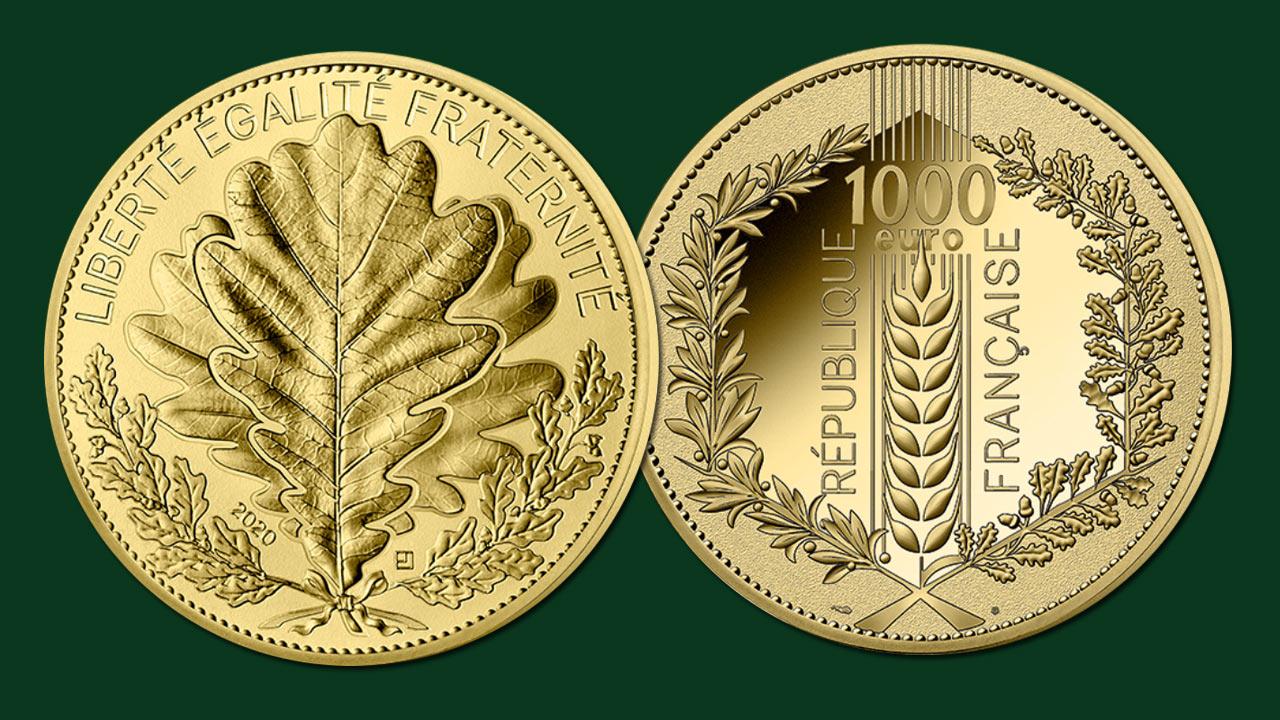 Photo de la nouvelle pièce d'or de 1000 euro chêne de la Monnaie de Paris