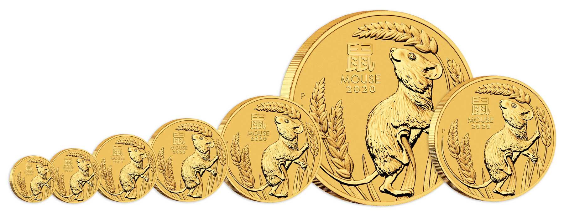 Pièces d'or Australie Année de la souris 2020