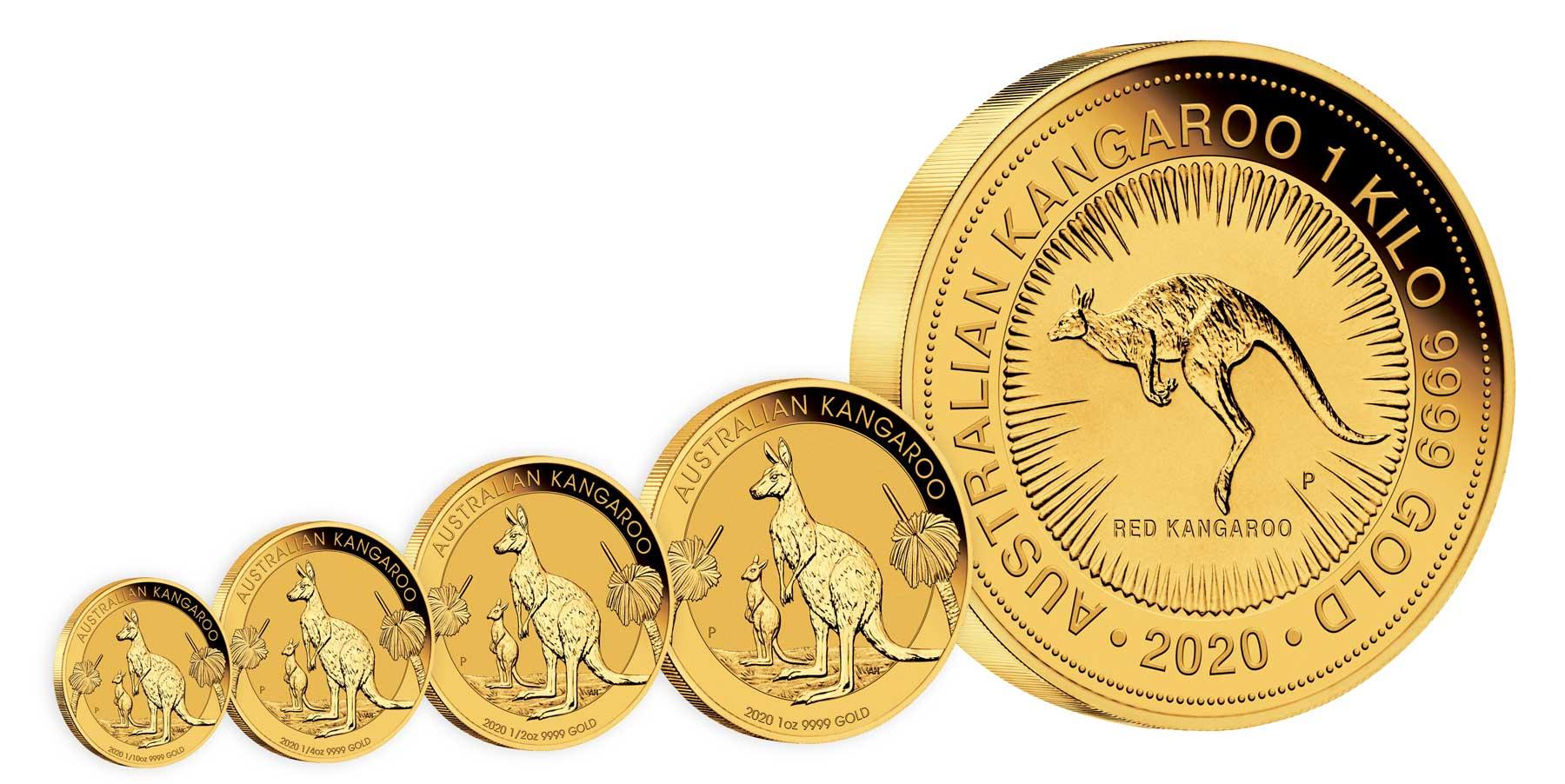 Série de pièces d'or au Kangourou : des pièces d'1/10eme d'once au Kilo...