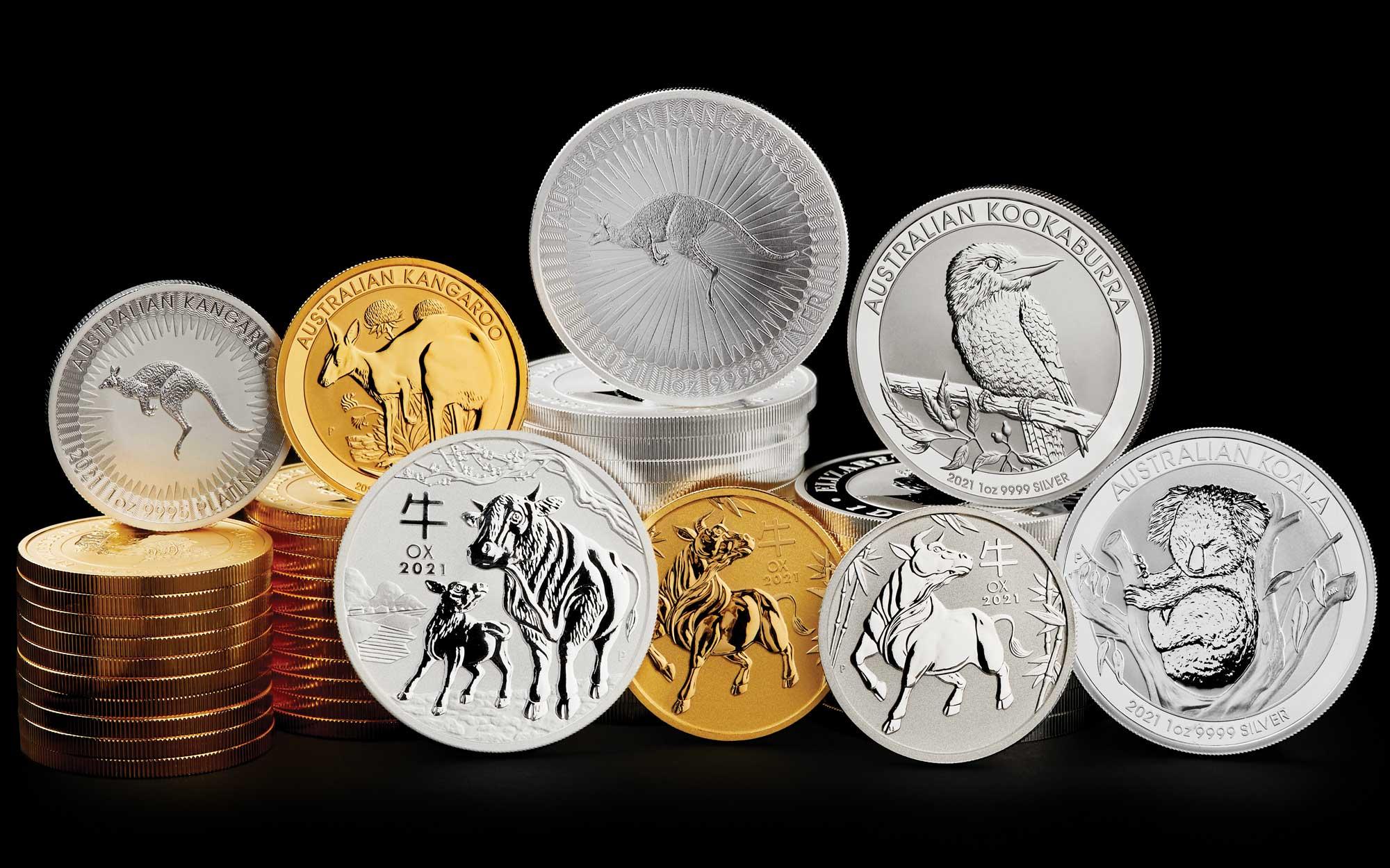 Photos des pièces d'or d'argent et de platine d'investissement d'Australie pour l'année 2021