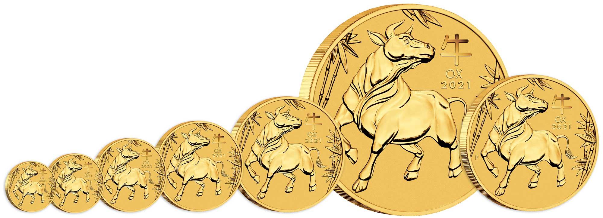 Pièces d'or Australie Année du Boeuf 2021