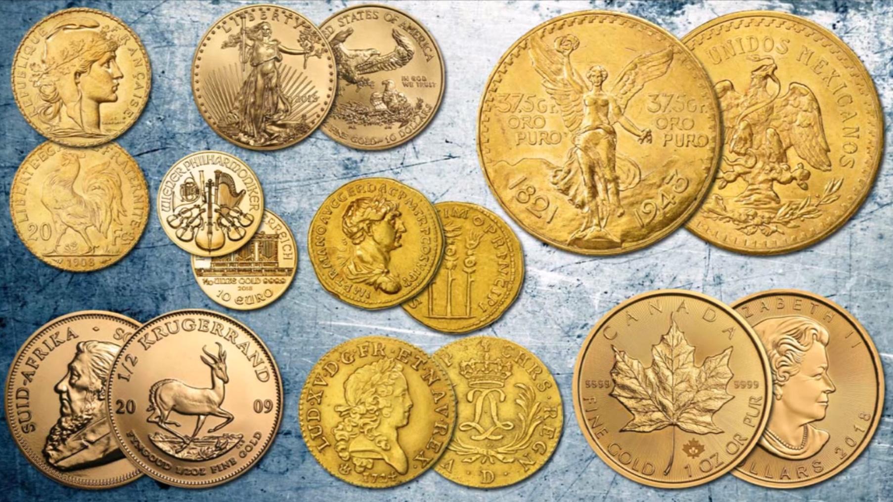 Pièces d'or variées de l'Antiquité à nos jours