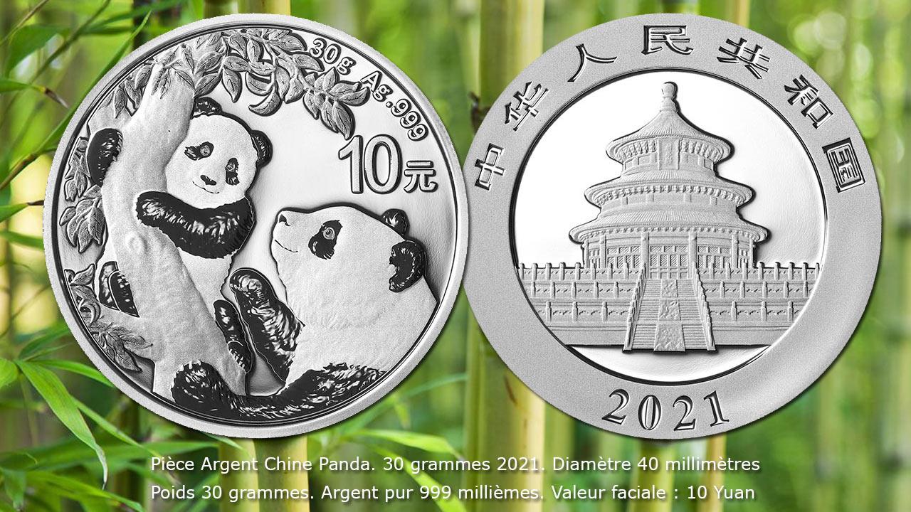 Pièce Argent Panda Chine 30 Grammes 10 Yuan 2021