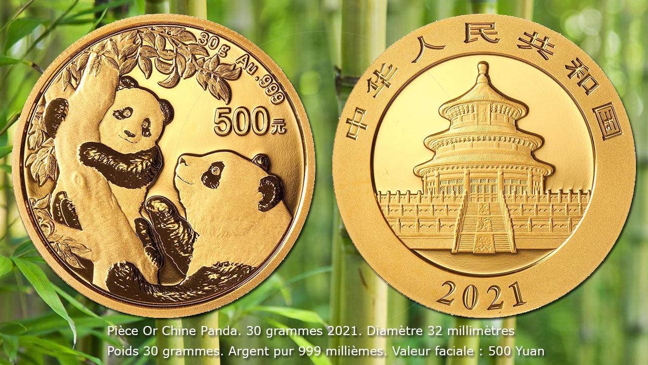 Pièce or Panda Chine 2021 500 Yuan