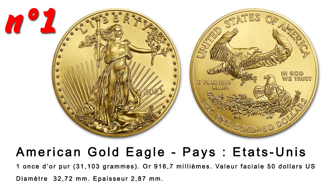 La pièce d'or la plus populaire dans le monde : la pièce de 50 dollars American Gold Eagle