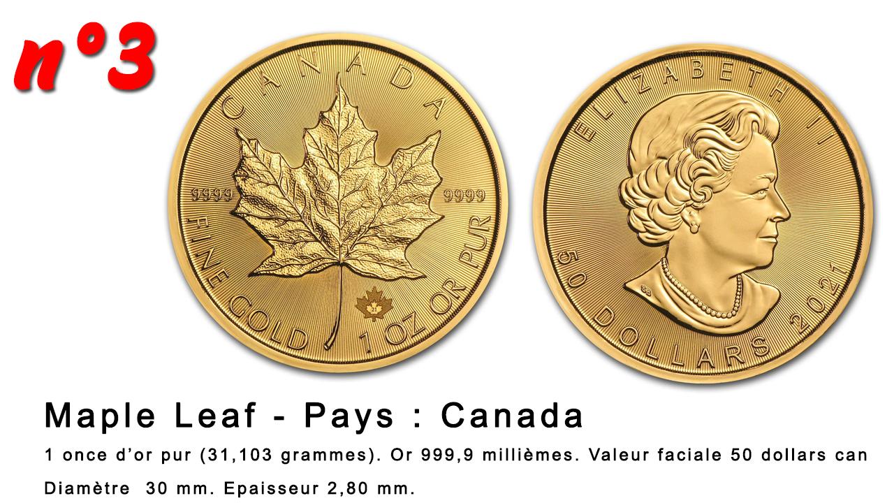 Les pièces d'or Maple Leaf du Canada