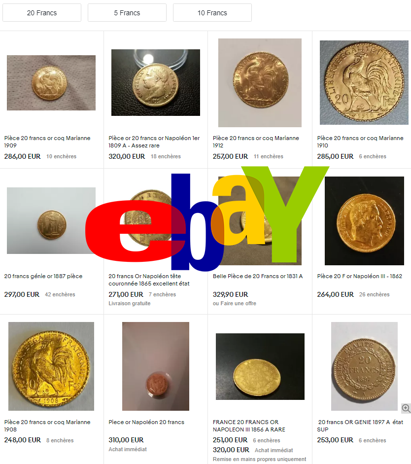 Quelques pièces d'Or en vente sur eBay