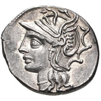 Saturne sur un denier romain