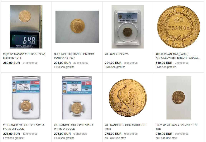 Exemples de pièces françaises en or
