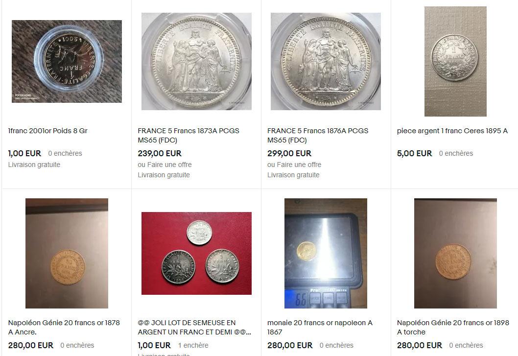 Quelques pièces en franc en vente...
