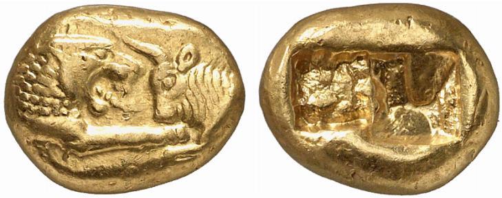 Pièce d'or : Créséide, pièce d'or de Lydie (VIème siècle avant JC)