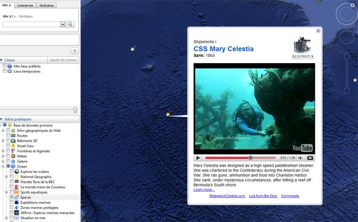 Capture d'écran de Google Océan : vidéo sur l'épave du Mary Celestia, coulé en 1864